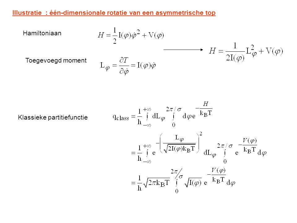 Illustratie : één-dimensionale rotatie van een asymmetrische top