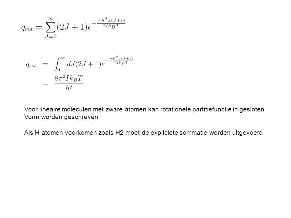 Voor lineaire moleculen met zware atomen kan rotationele partitiefunctie in gesloten