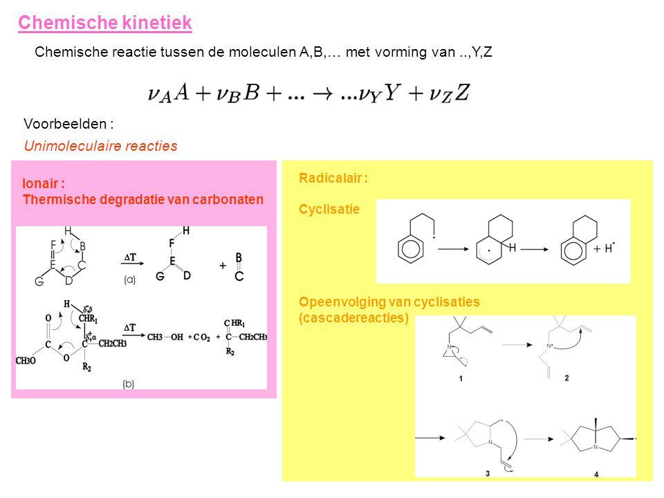 Chemische kinetiek Chemische reactie tussen de moleculen A,B,… met vorming van ..,Y,Z. Voorbeelden :