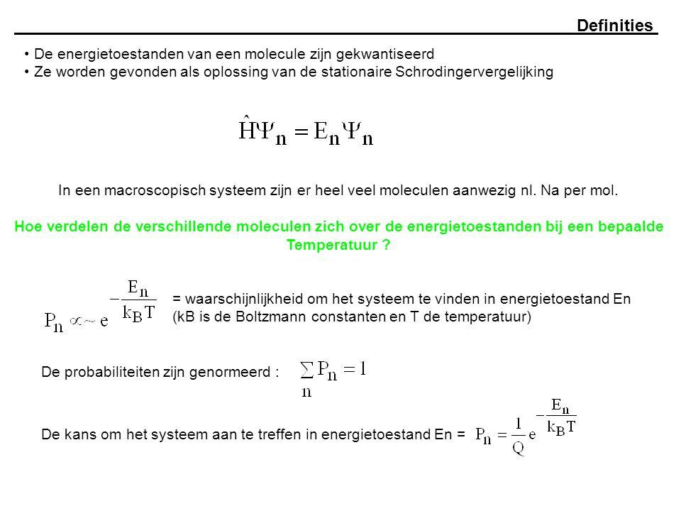 Definities De energietoestanden van een molecule zijn gekwantiseerd