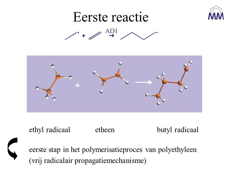Eerste reactie ethyl radicaal etheen butyl radicaal