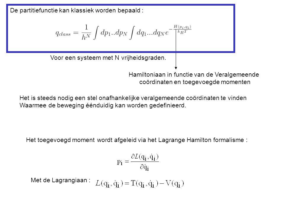 De partitiefunctie kan klassiek worden bepaald :