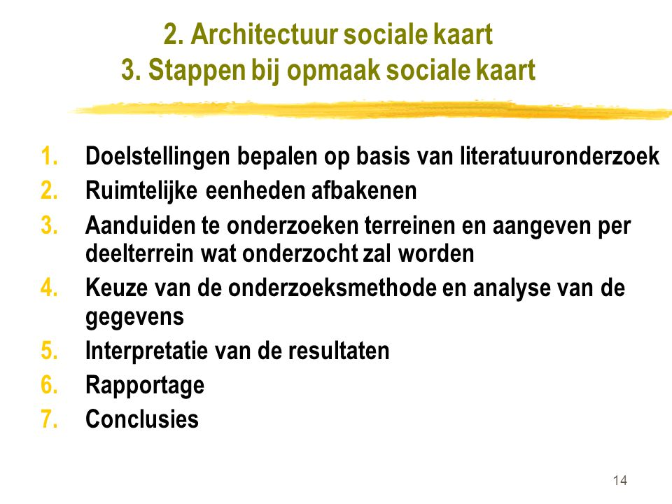2. Architectuur sociale kaart 3. Stappen bij opmaak sociale kaart