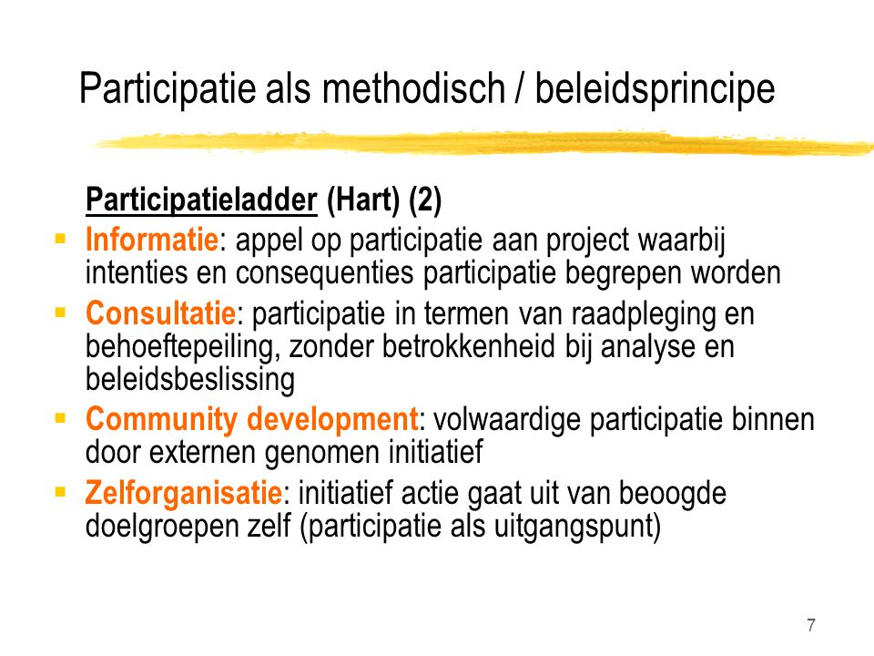 Participatie als methodisch / beleidsprincipe