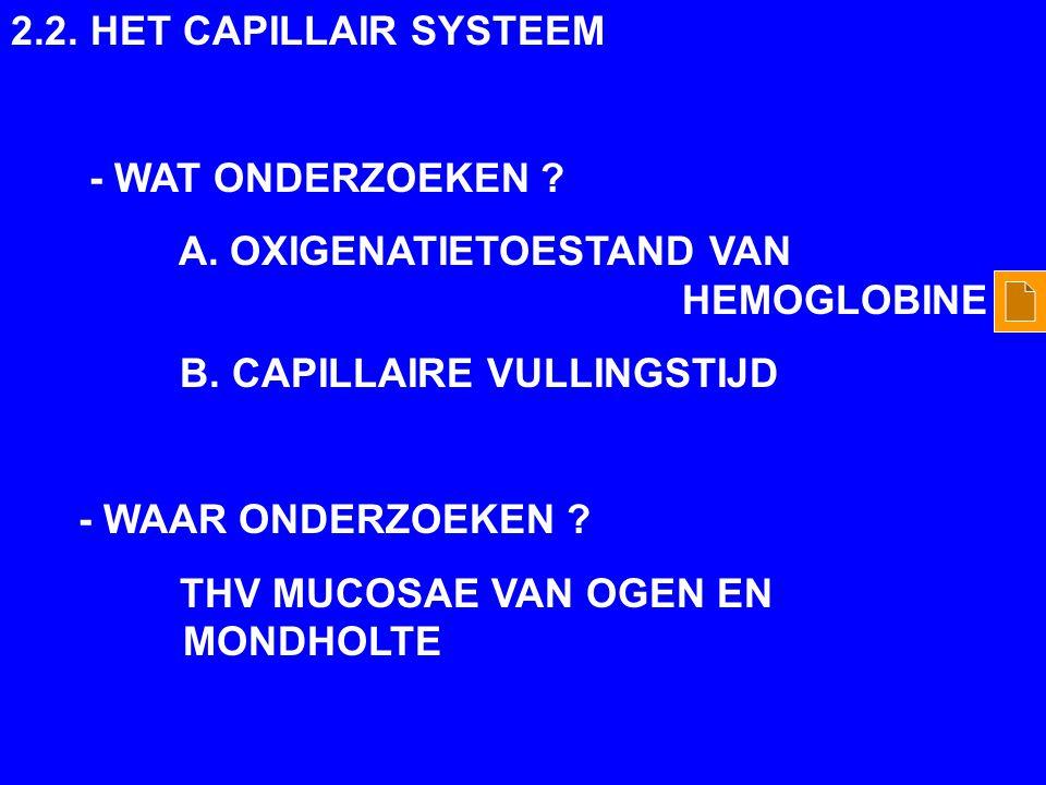 2.2. HET CAPILLAIR SYSTEEM - WAT ONDERZOEKEN A. OXIGENATIETOESTAND VAN HEMOGLOBINE.