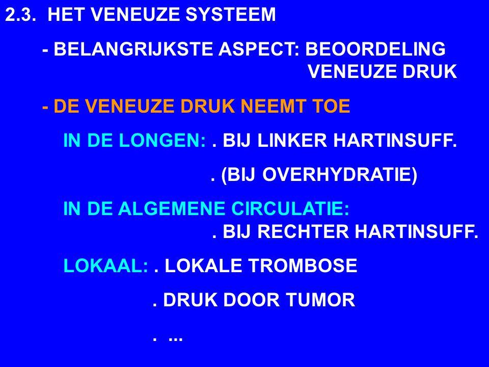 2.3. HET VENEUZE SYSTEEM - BELANGRIJKSTE ASPECT: BEOORDELING VENEUZE DRUK. - DE VENEUZE DRUK NEEMT TOE.