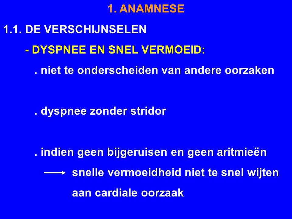 1. ANAMNESE 1.1. DE VERSCHIJNSELEN. - DYSPNEE EN SNEL VERMOEID: . niet te onderscheiden van andere oorzaken.