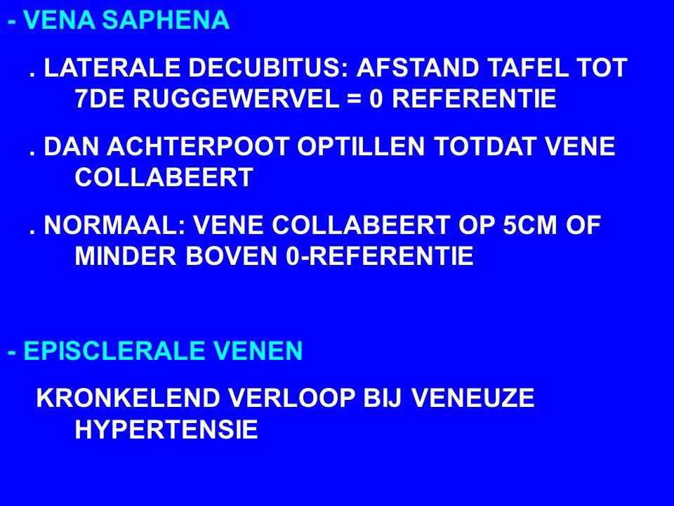 - VENA SAPHENA . LATERALE DECUBITUS: AFSTAND TAFEL TOT 7DE RUGGEWERVEL = 0 REFERENTIE. . DAN ACHTERPOOT OPTILLEN TOTDAT VENE COLLABEERT.