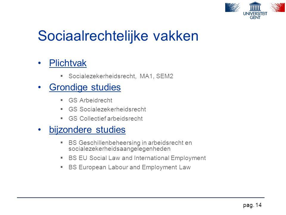 Sociaalrechtelijke vakken