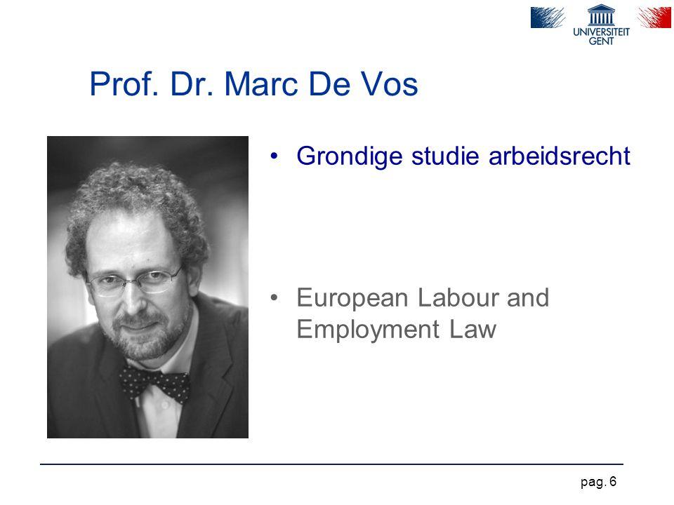 Prof. Dr. Marc De Vos Grondige studie arbeidsrecht