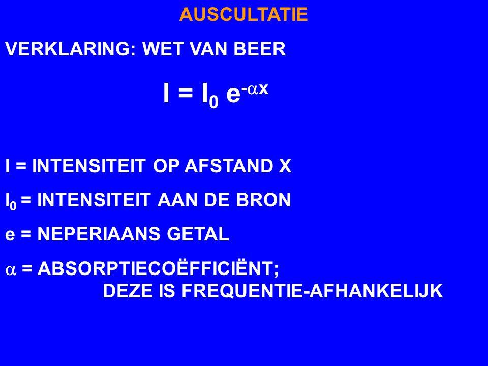 AUSCULTATIE VERKLARING: WET VAN BEER. I = I0 e-ax. I = INTENSITEIT OP AFSTAND X. I0 = INTENSITEIT AAN DE BRON.