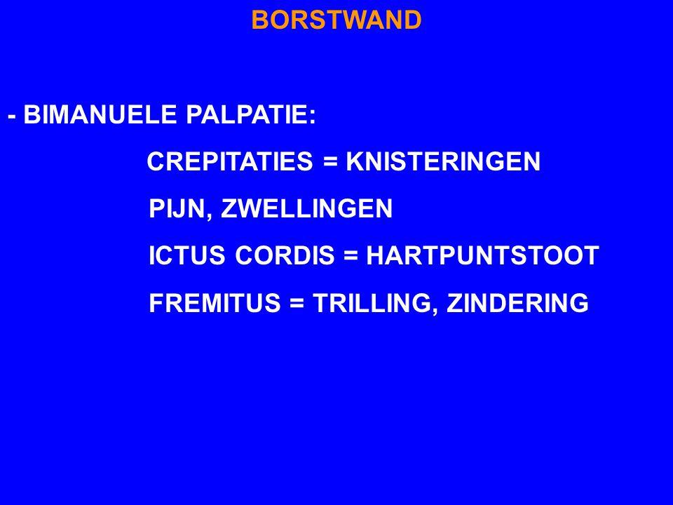 BORSTWAND - BIMANUELE PALPATIE: CREPITATIES = KNISTERINGEN. PIJN, ZWELLINGEN. ICTUS CORDIS = HARTPUNTSTOOT.