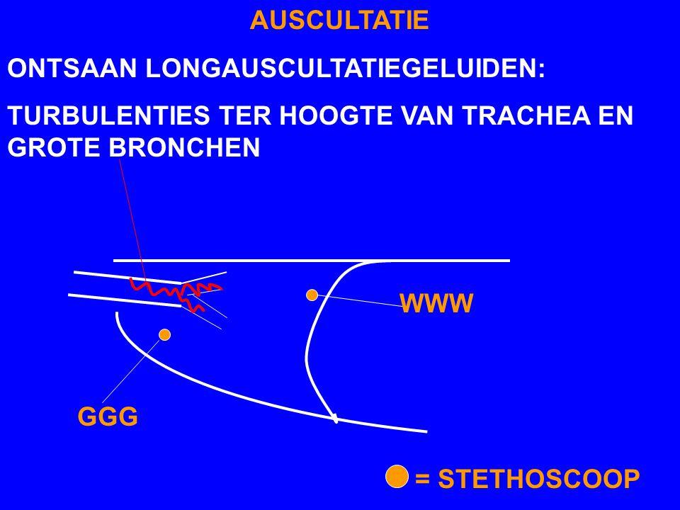 AUSCULTATIE ONTSAAN LONGAUSCULTATIEGELUIDEN: TURBULENTIES TER HOOGTE VAN TRACHEA EN GROTE BRONCHEN.