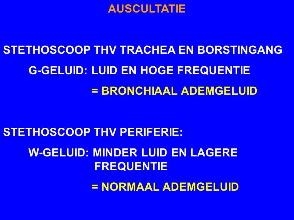 AUSCULTATIE STETHOSCOOP THV TRACHEA EN BORSTINGANG. G-GELUID: LUID EN HOGE FREQUENTIE. = BRONCHIAAL ADEMGELUID.