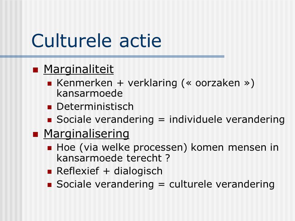 Culturele actie Marginaliteit Marginalisering