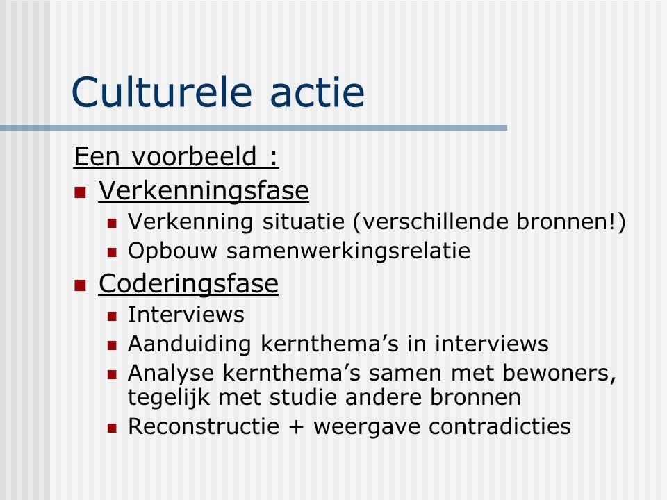 Culturele actie Een voorbeeld : Verkenningsfase Coderingsfase