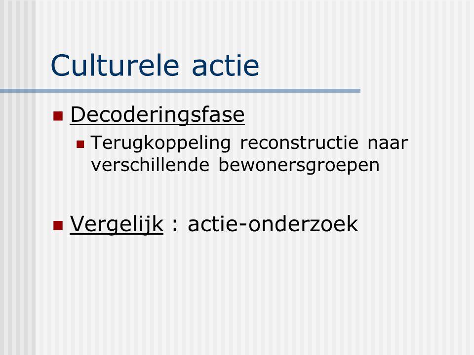 Culturele actie Decoderingsfase Vergelijk : actie-onderzoek