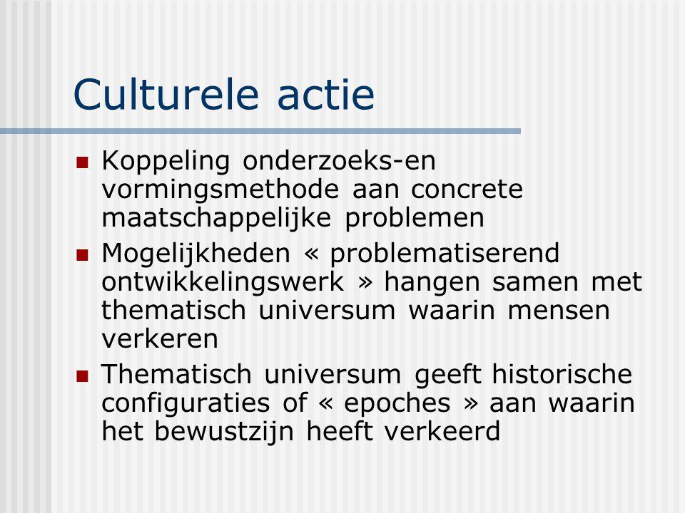 Culturele actie Koppeling onderzoeks-en vormingsmethode aan concrete maatschappelijke problemen.