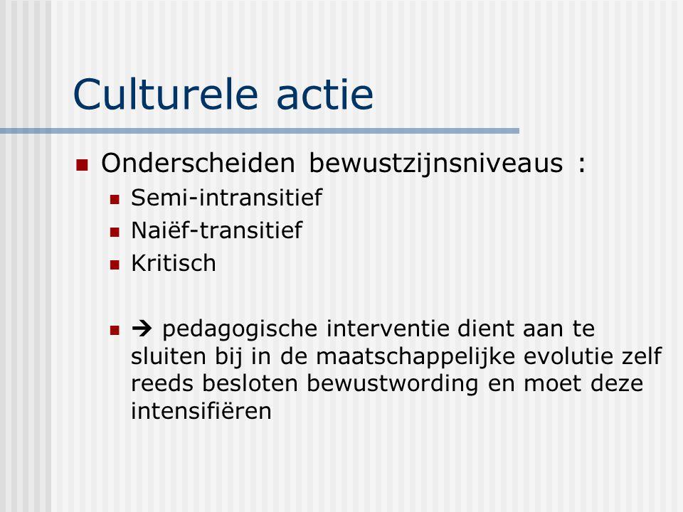 Culturele actie Onderscheiden bewustzijnsniveaus : Semi-intransitief