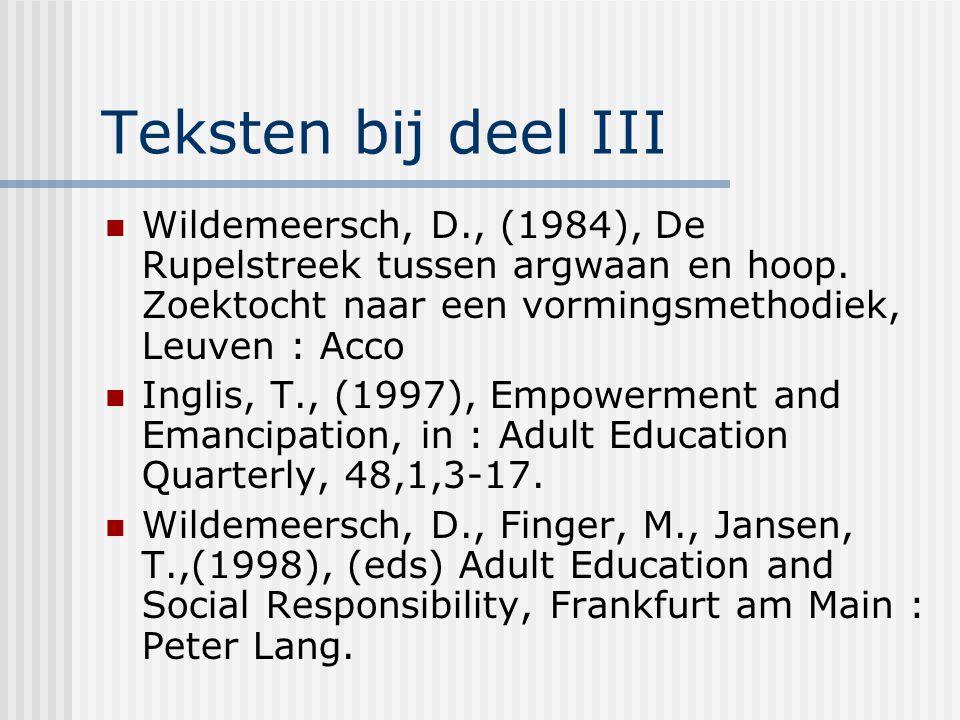 Teksten bij deel III Wildemeersch, D., (1984), De Rupelstreek tussen argwaan en hoop. Zoektocht naar een vormingsmethodiek, Leuven : Acco.