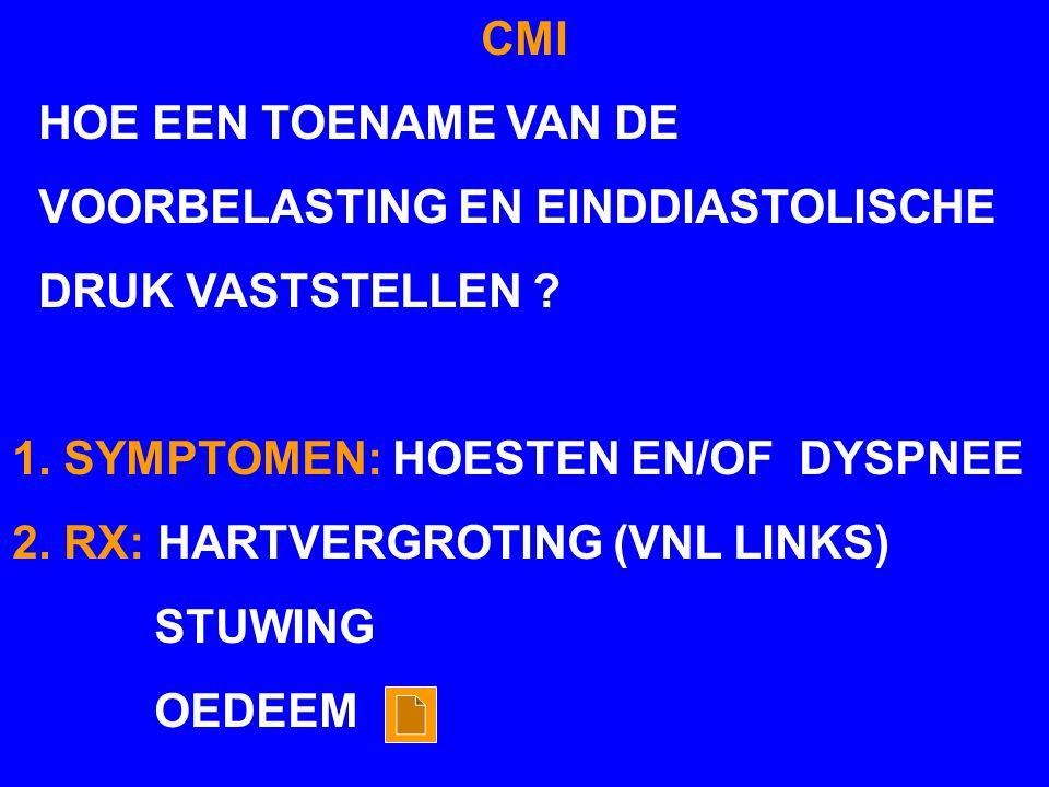 CMI HOE EEN TOENAME VAN DE. VOORBELASTING EN EINDDIASTOLISCHE. DRUK VASTSTELLEN 1. SYMPTOMEN: HOESTEN EN/OF DYSPNEE.