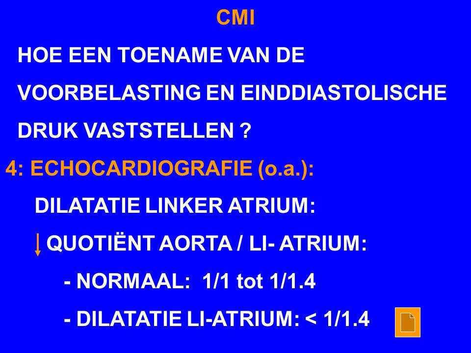CMI HOE EEN TOENAME VAN DE. VOORBELASTING EN EINDDIASTOLISCHE. DRUK VASTSTELLEN 4: ECHOCARDIOGRAFIE (o.a.):