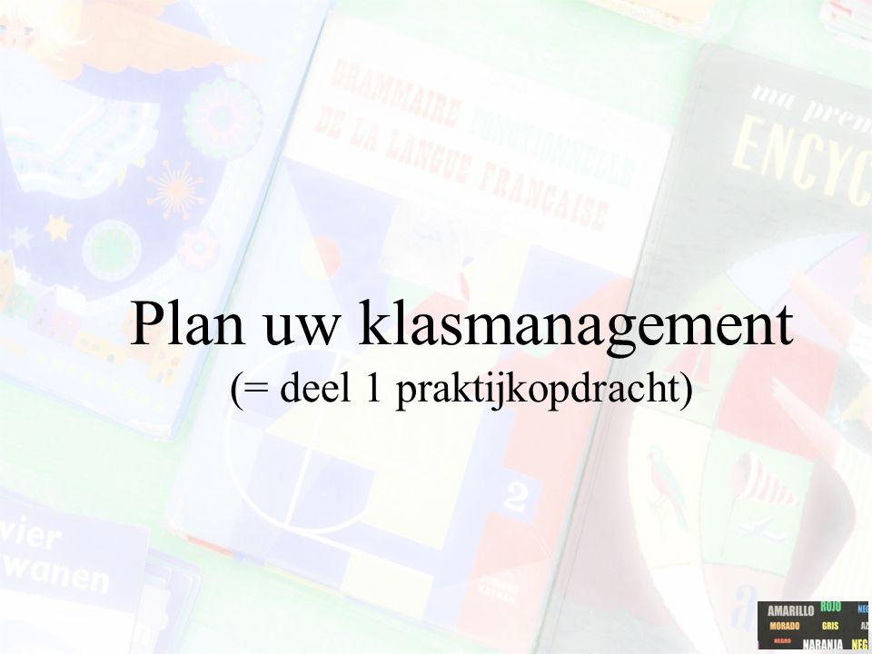 Plan uw klasmanagement (= deel 1 praktijkopdracht)