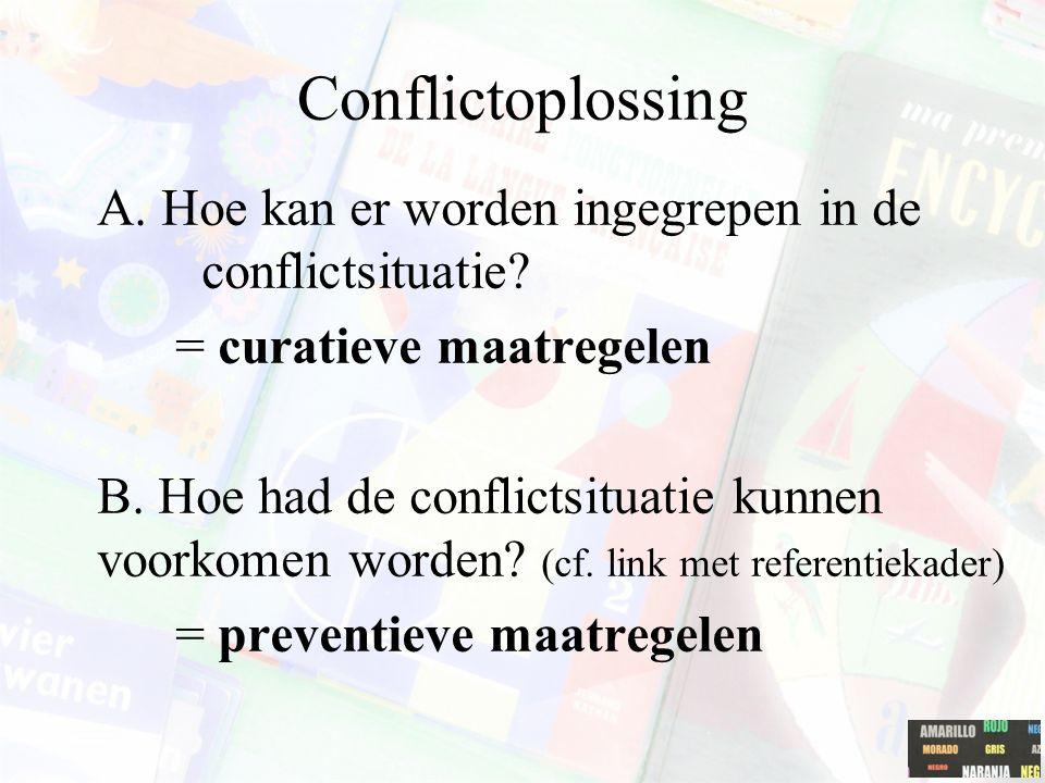 Conflictoplossing A. Hoe kan er worden ingegrepen in de conflictsituatie = curatieve maatregelen.
