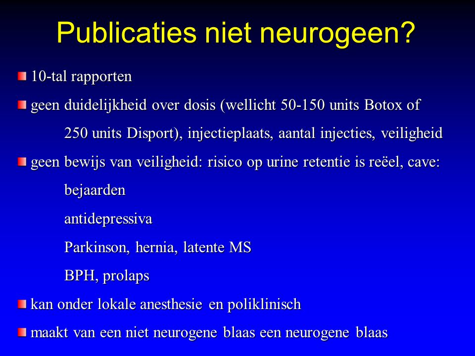 Publicaties niet neurogeen