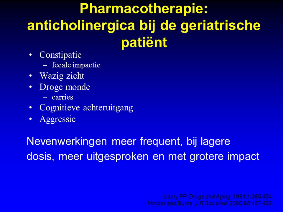 Pharmacotherapie: anticholinergica bij de geriatrische patiënt