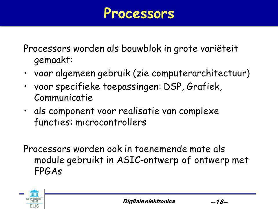 Processors Processors worden als bouwblok in grote variëteit gemaakt: