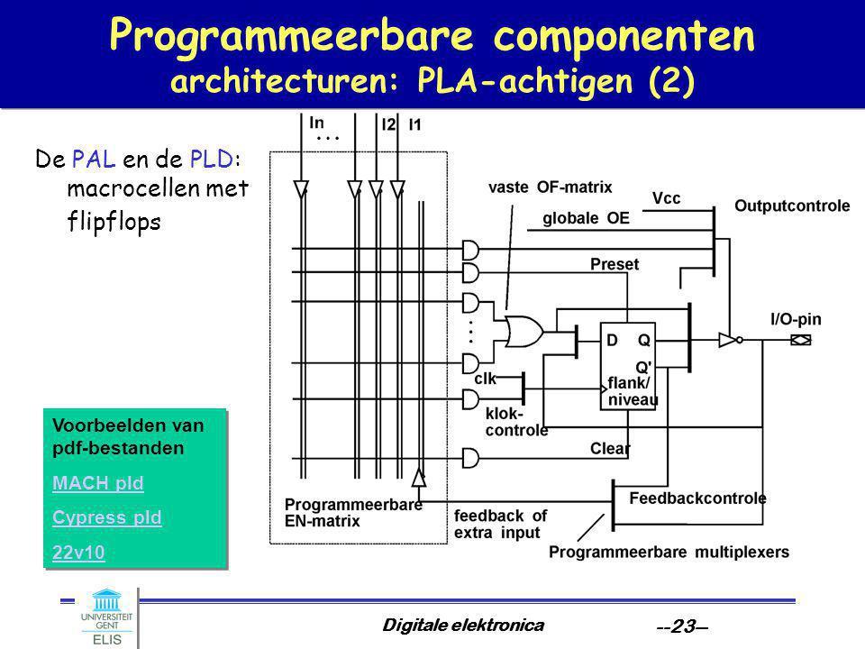 Programmeerbare componenten architecturen: PLA-achtigen (2)