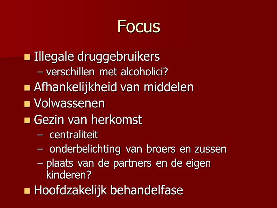 Focus Illegale druggebruikers Afhankelijkheid van middelen Volwassenen
