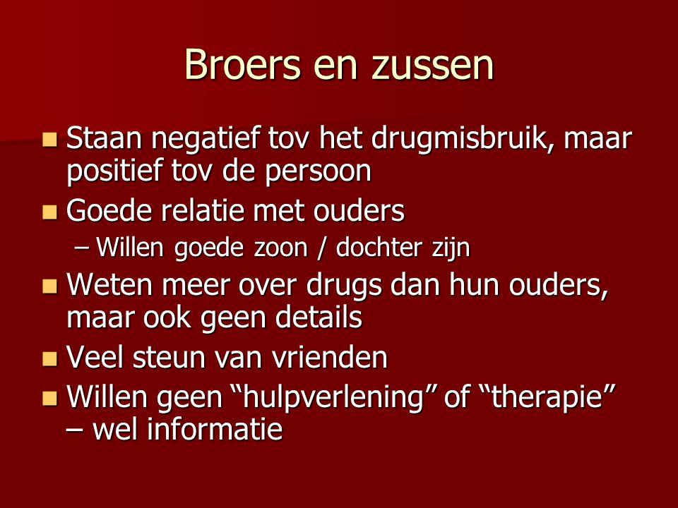 Broers en zussen Staan negatief tov het drugmisbruik, maar positief tov de persoon. Goede relatie met ouders.
