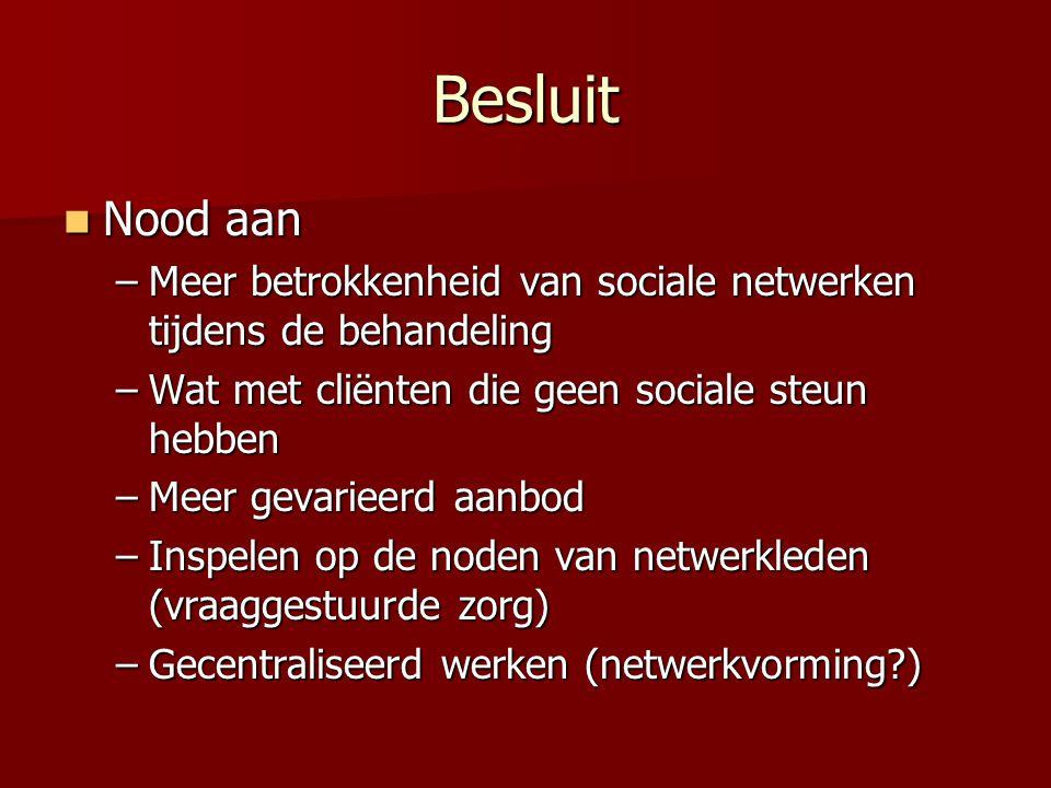 Besluit Nood aan. Meer betrokkenheid van sociale netwerken tijdens de behandeling. Wat met cliënten die geen sociale steun hebben.