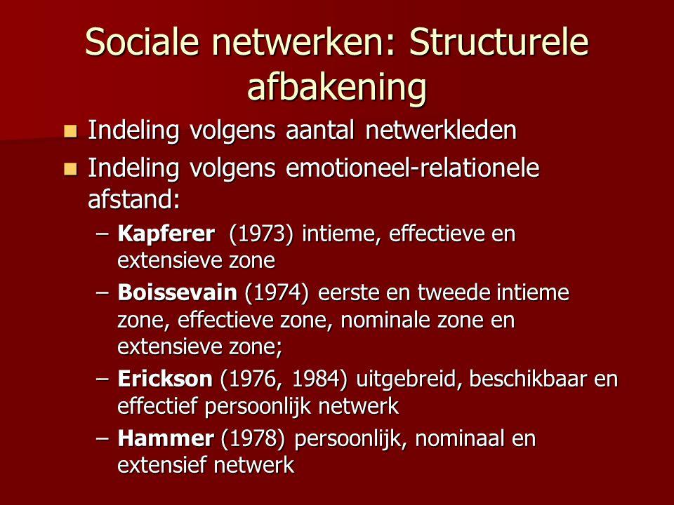 Sociale netwerken: Structurele afbakening