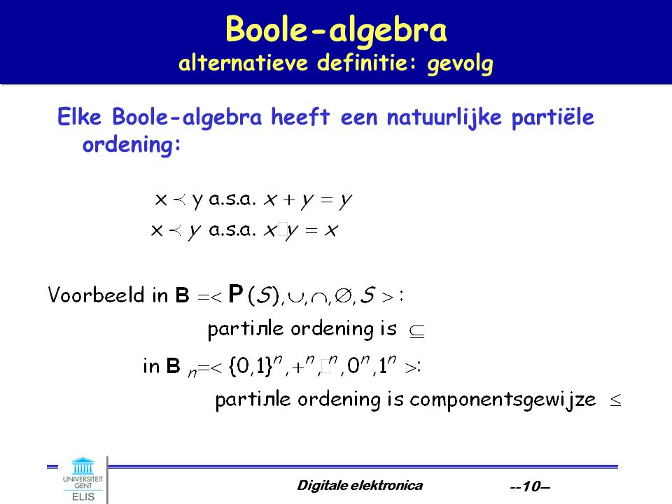 Boole-algebra alternatieve definitie: gevolg