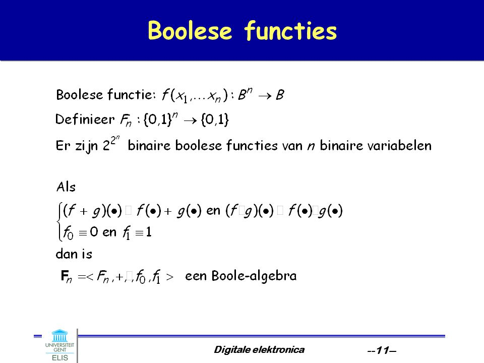 Boolese functies Digitale elektronica