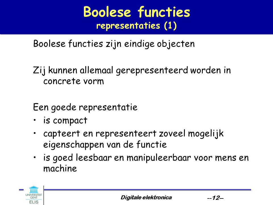 Boolese functies representaties (1)