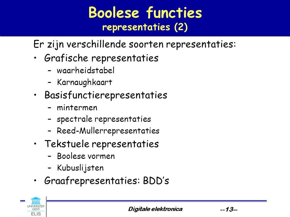 Boolese functies representaties (2)