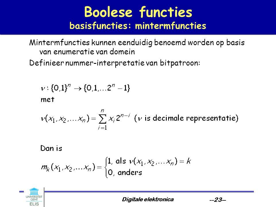 Boolese functies basisfuncties: mintermfuncties