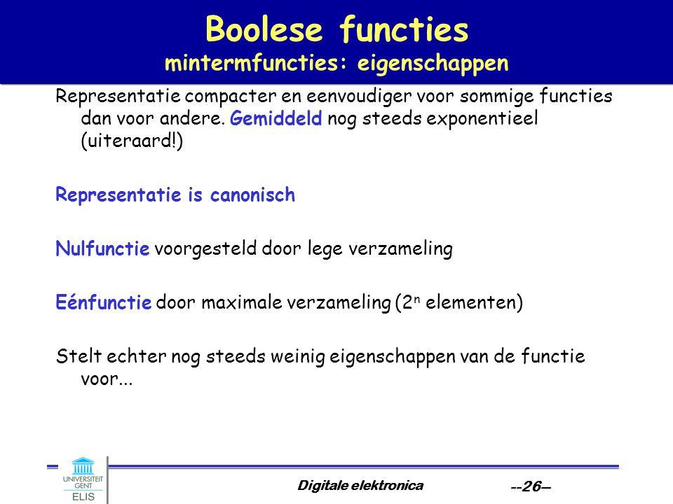 Boolese functies mintermfuncties: eigenschappen