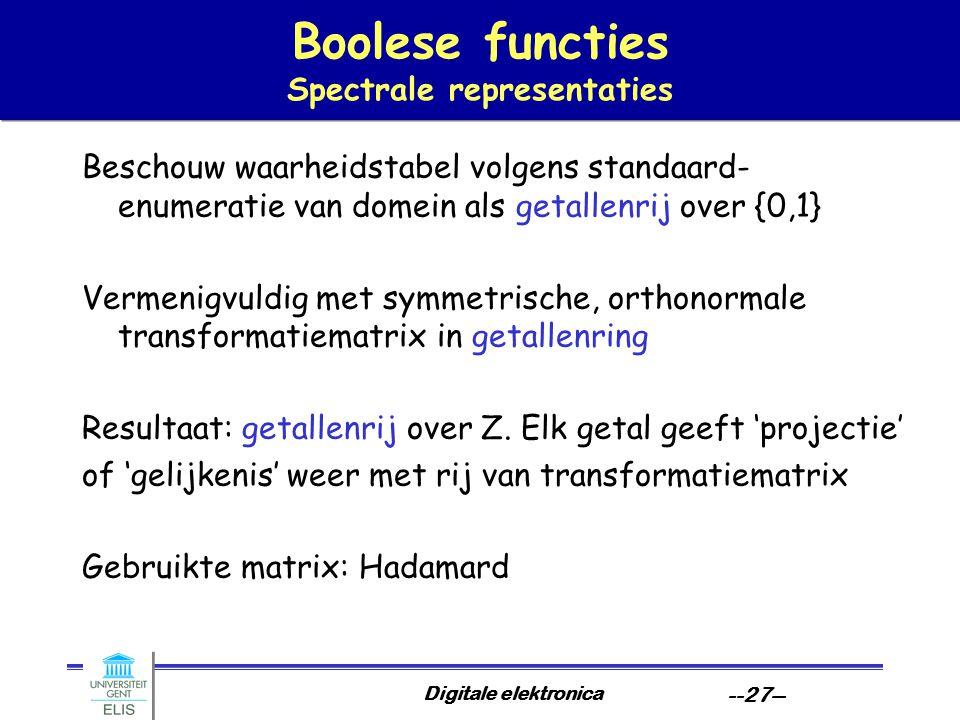 Boolese functies Spectrale representaties