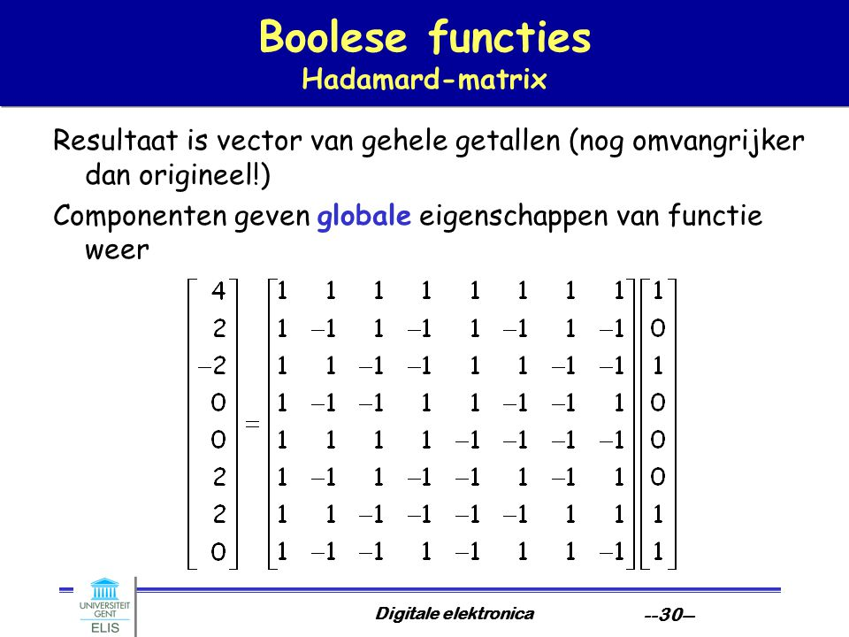 Boolese functies Hadamard-matrix