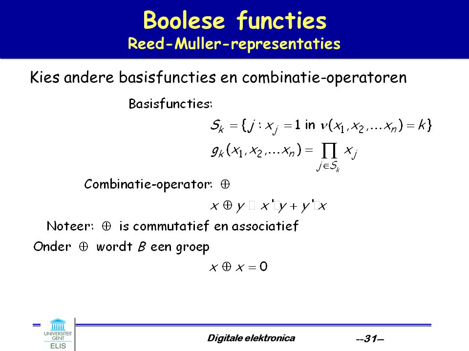 Boolese functies Reed-Muller-representaties