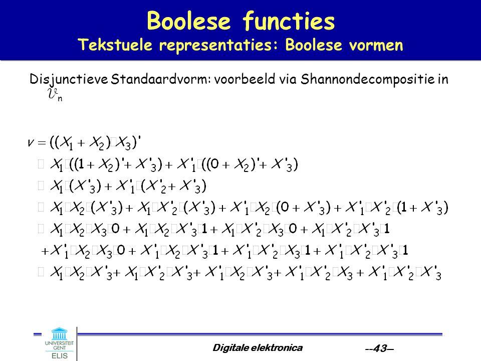 Boolese functies Tekstuele representaties: Boolese vormen