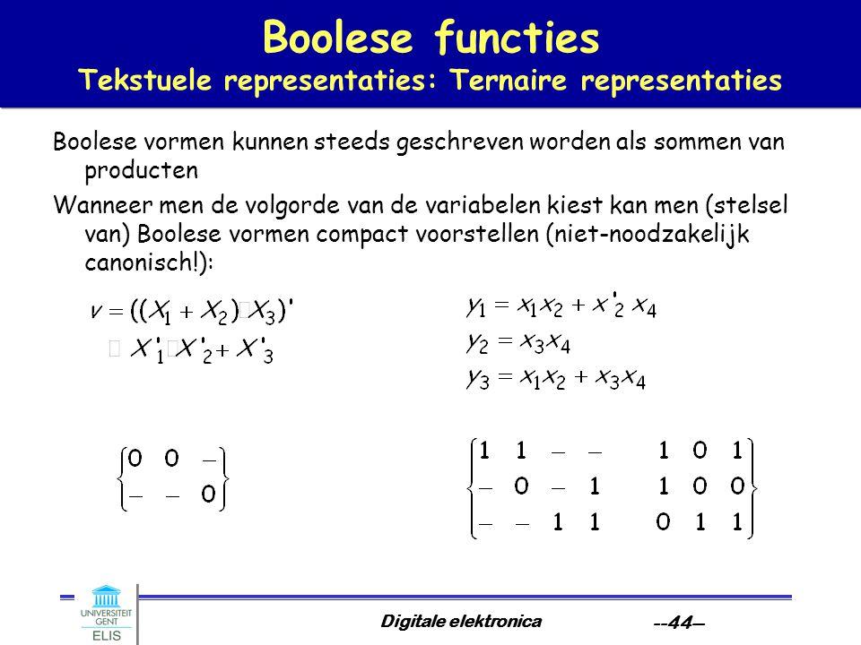 Boolese functies Tekstuele representaties: Ternaire representaties