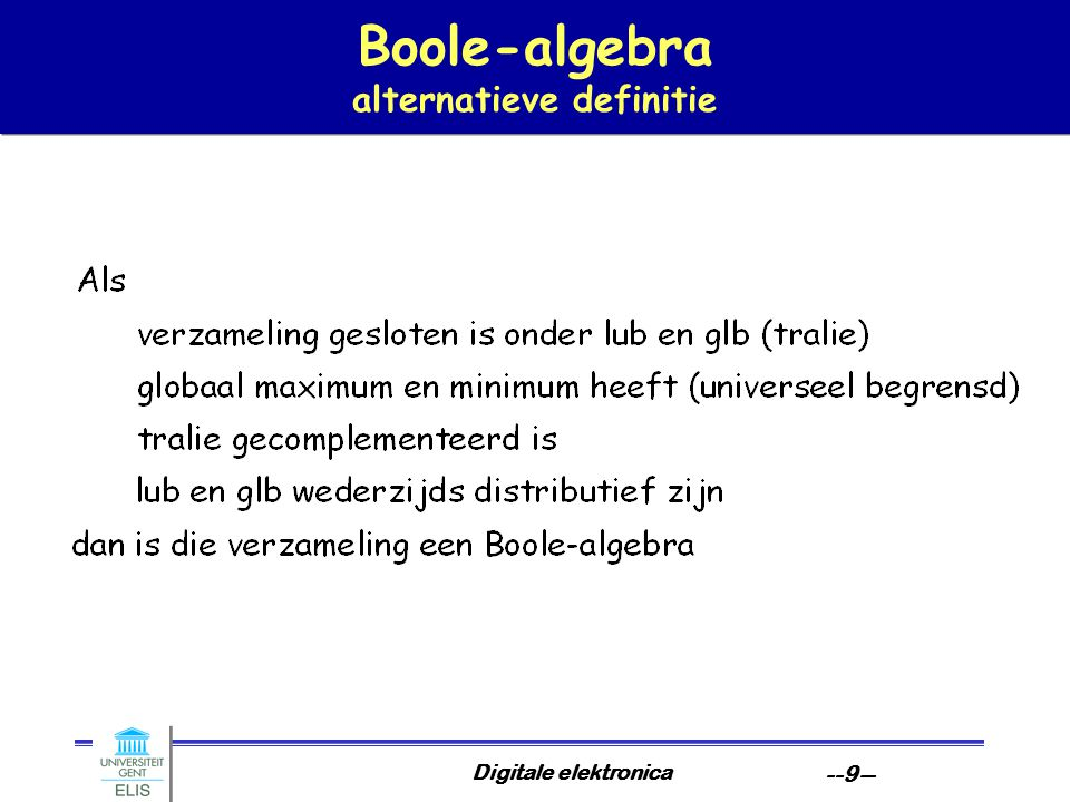 Boole-algebra alternatieve definitie