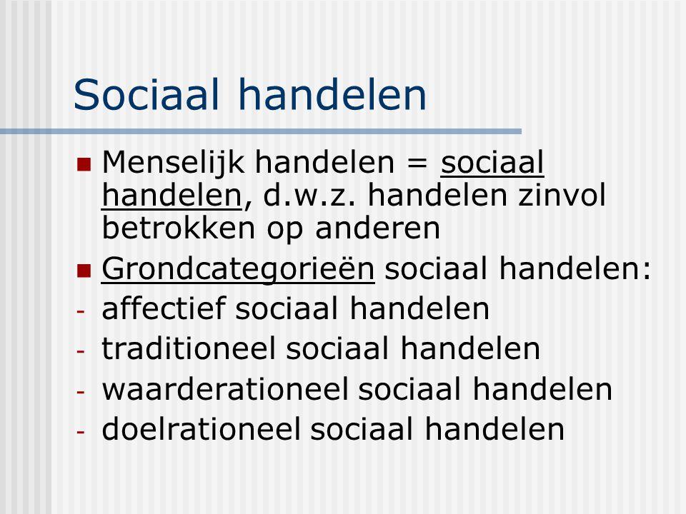 Sociaal handelen Menselijk handelen = sociaal handelen, d.w.z. handelen zinvol betrokken op anderen.
