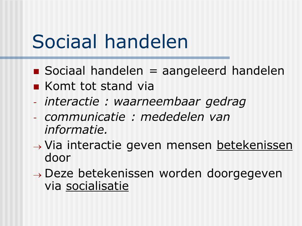 Sociaal handelen Sociaal handelen = aangeleerd handelen